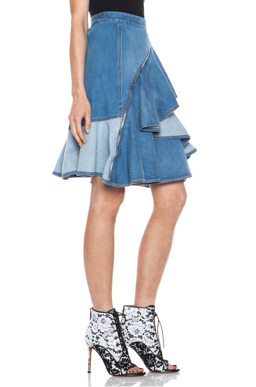 givenchy washed denim ruffle skirt in blue fwrd