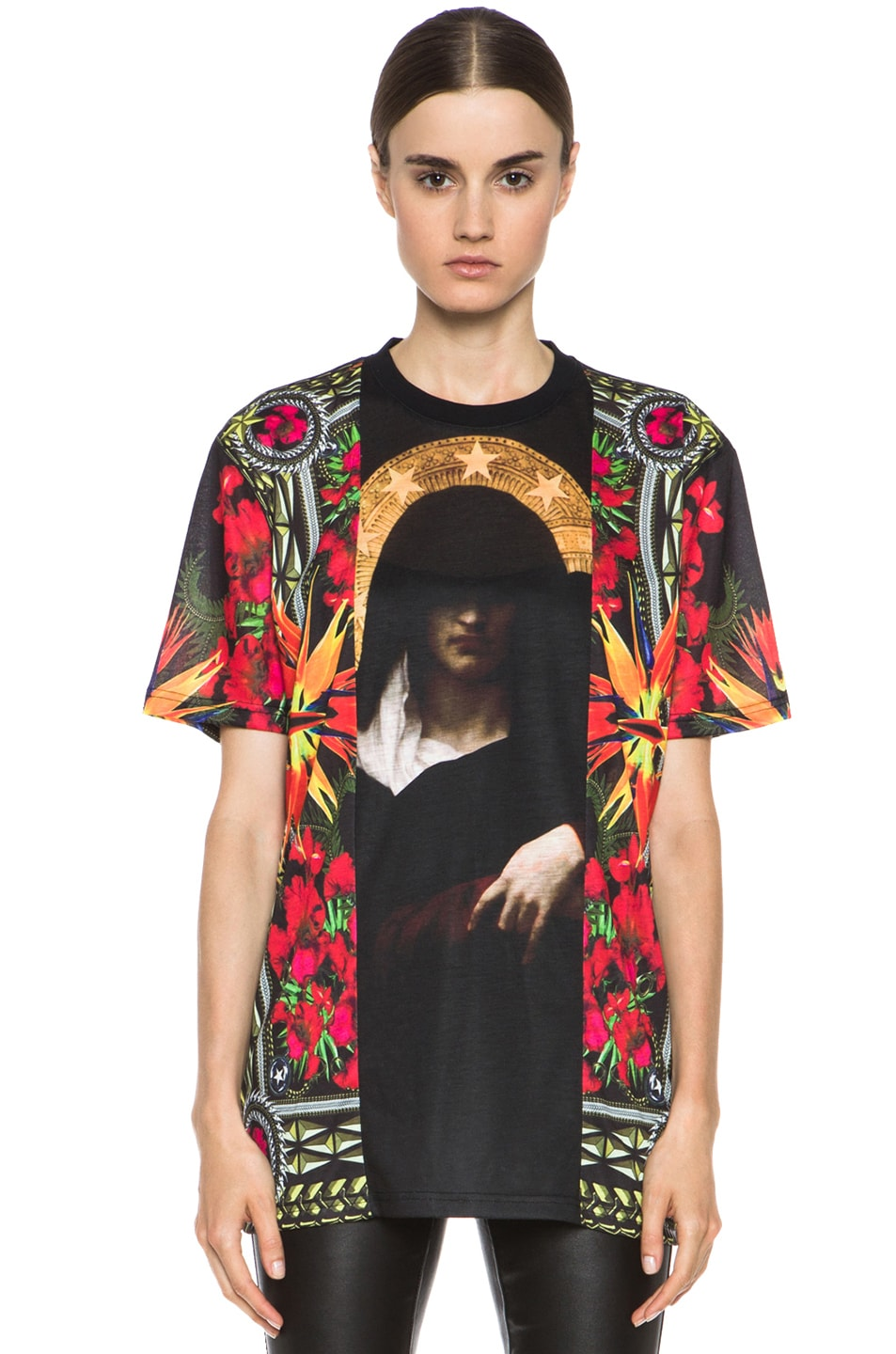 Image 1 of GIVENCHY Patchwork Madonna Flower Poly Tee in Multi