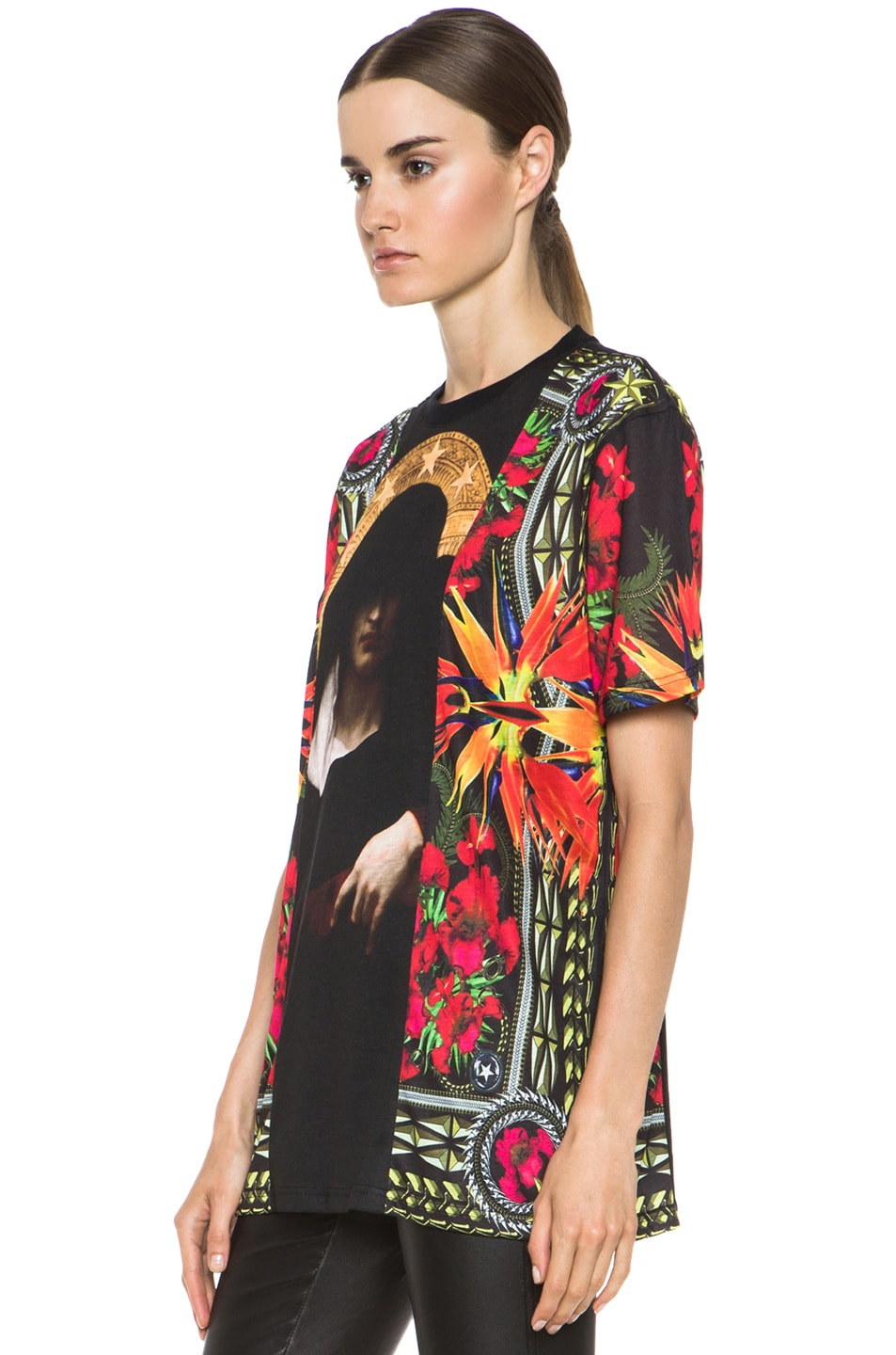 Image 2 of GIVENCHY Patchwork Madonna Flower Poly Tee in Multi