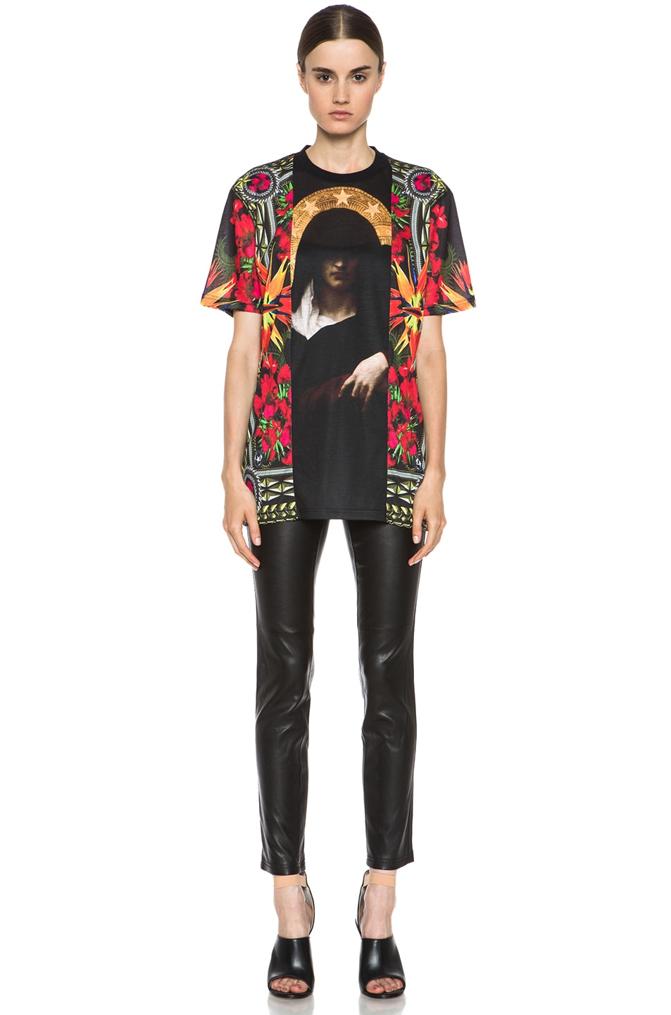 Image 5 of GIVENCHY Patchwork Madonna Flower Poly Tee in Multi