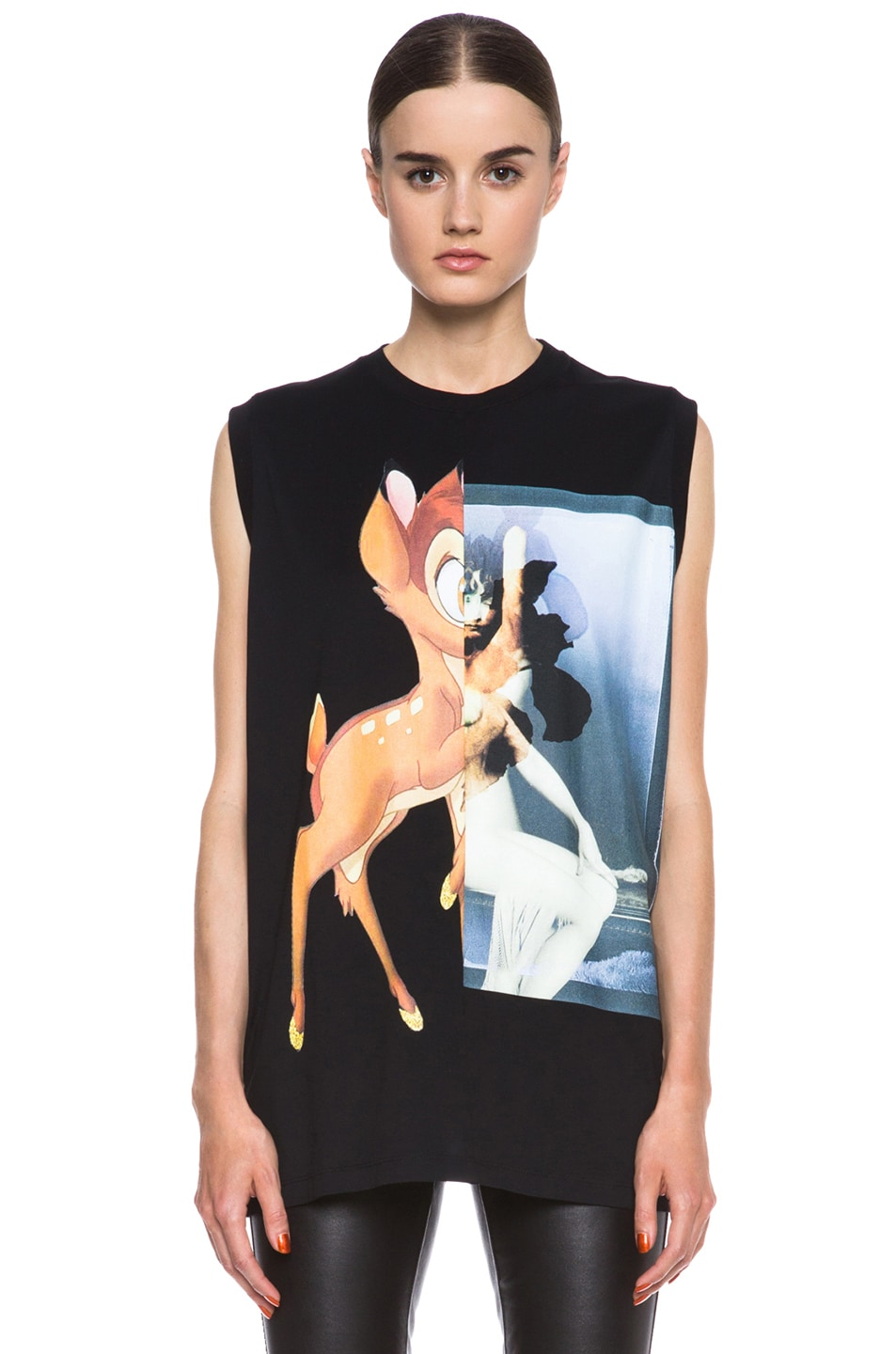 Image 1 of GIVENCHY Bambi Print Cotton Tee in Black