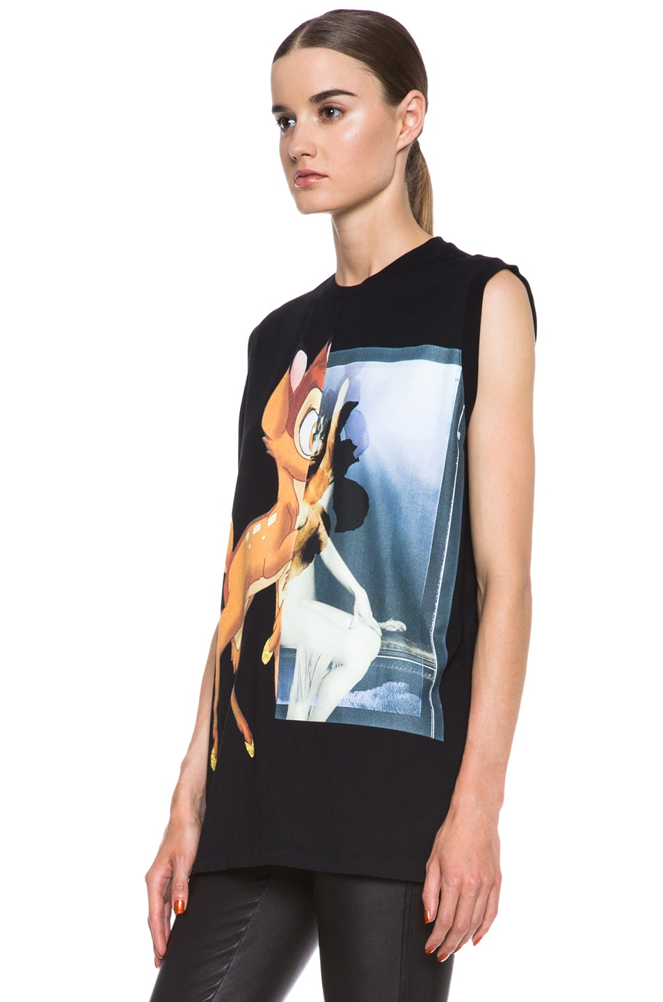 Image 2 of GIVENCHY Bambi Print Cotton Tee in Black