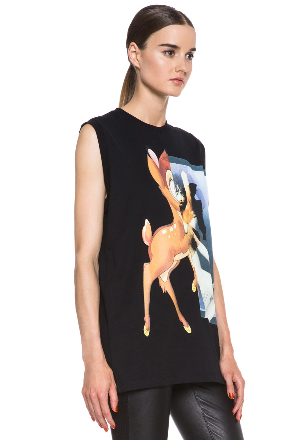 Image 3 of GIVENCHY Bambi Print Cotton Tee in Black