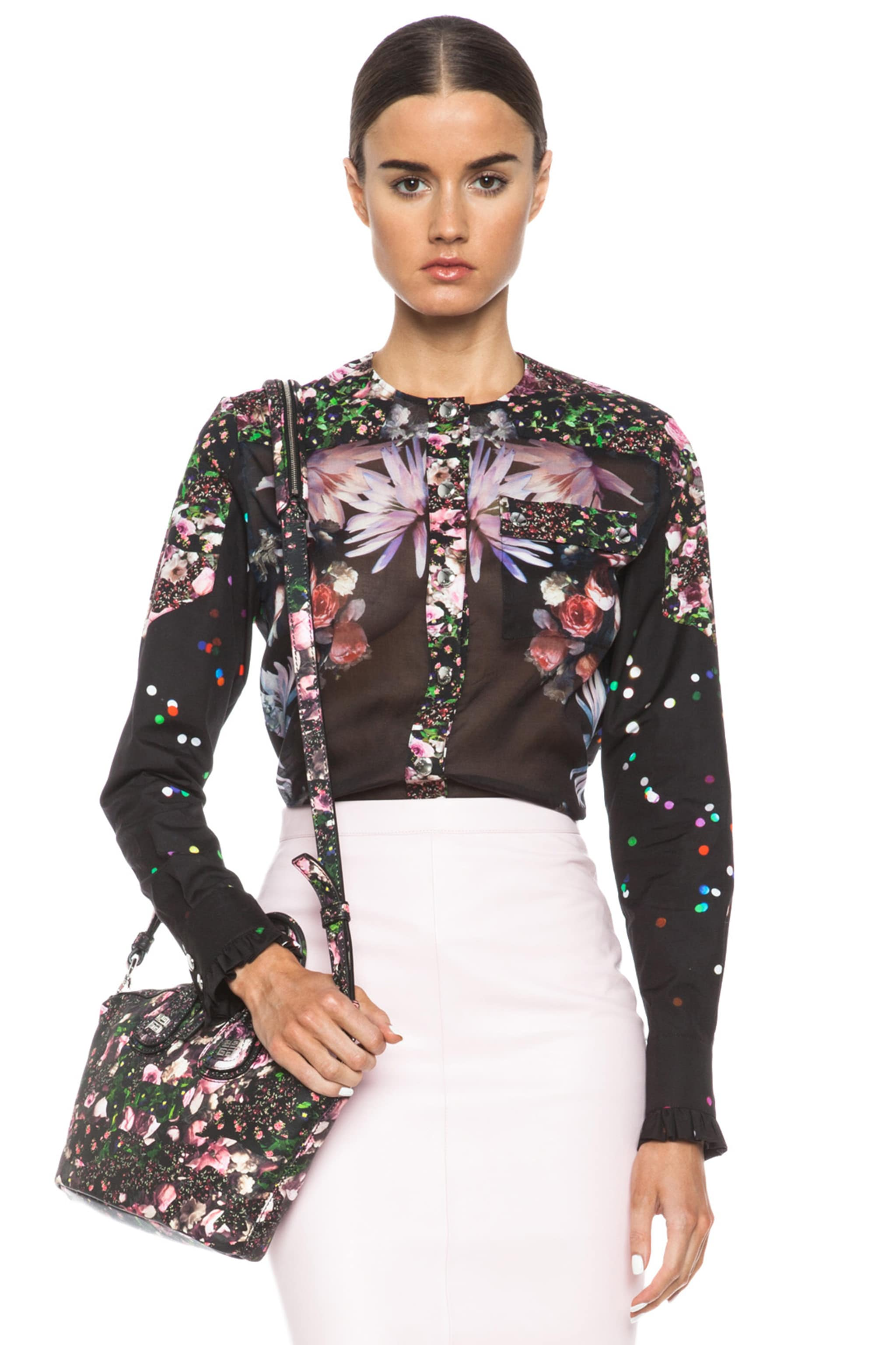 Image 1 of GIVENCHY Mix Print Poplin Cotton Blouse in Black Multi