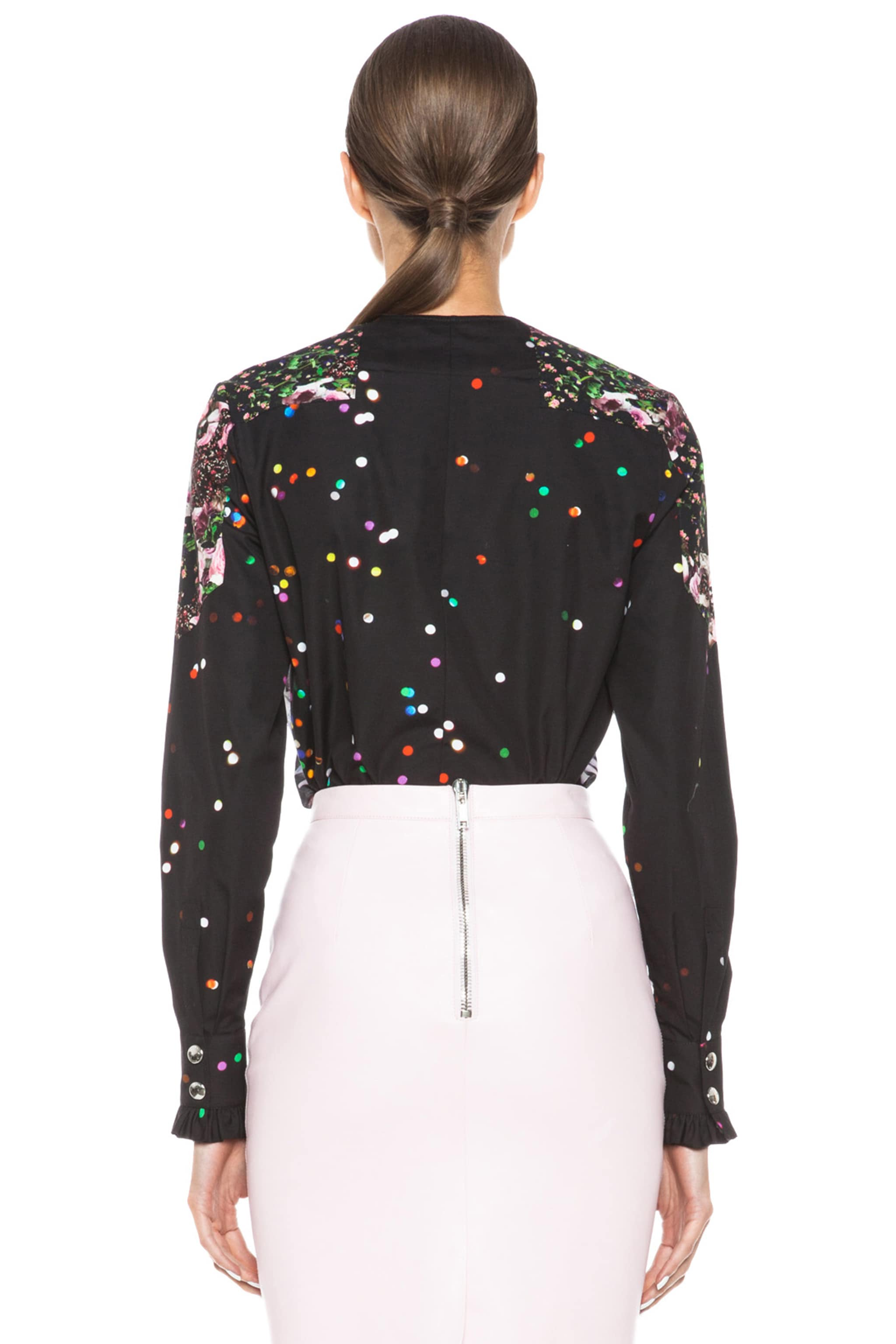 Image 4 of GIVENCHY Mix Print Poplin Cotton Blouse in Black Multi