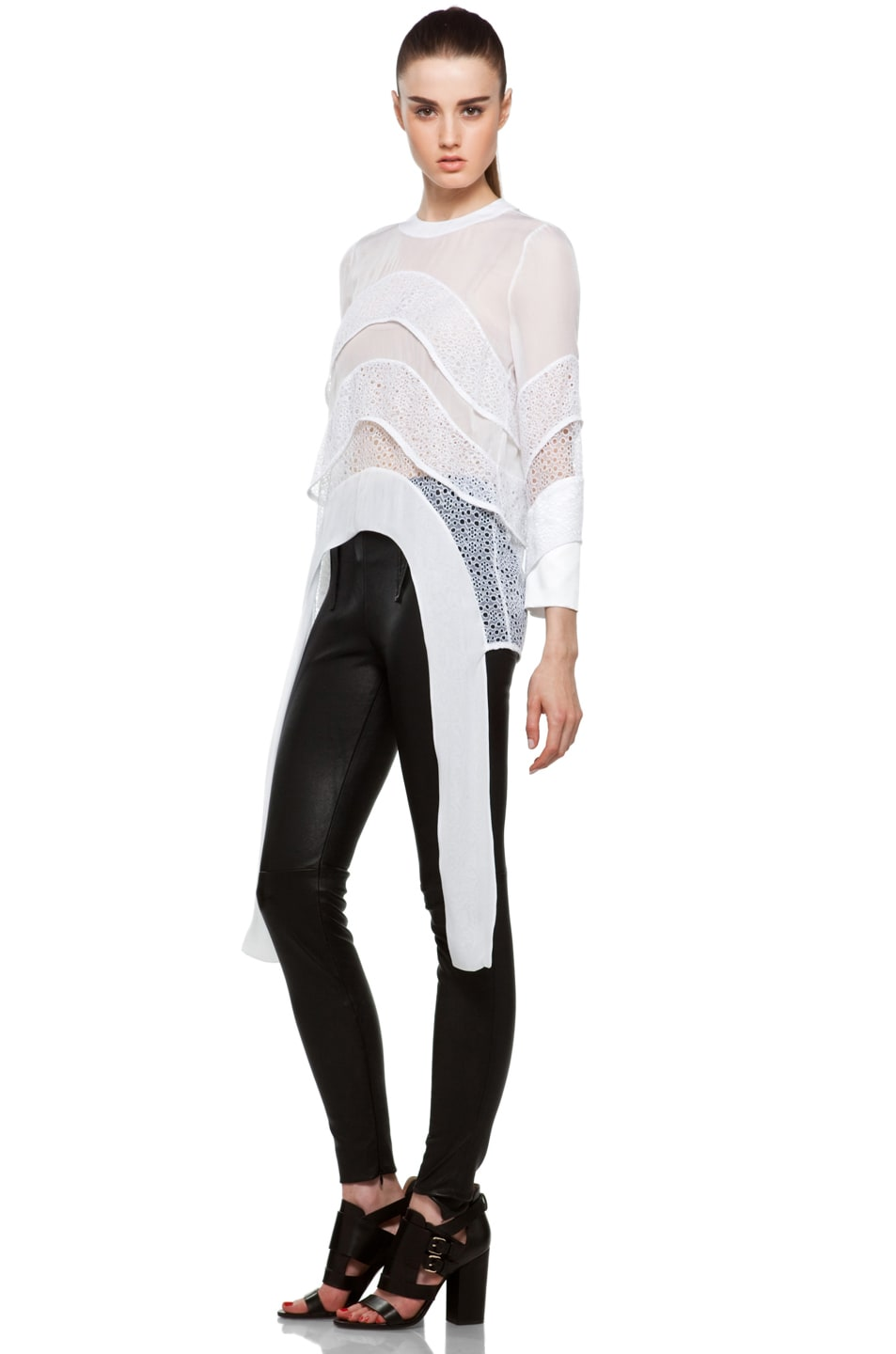Image 2 of GIVENCHY Tiered Chiffon Lace Top with Tails in White