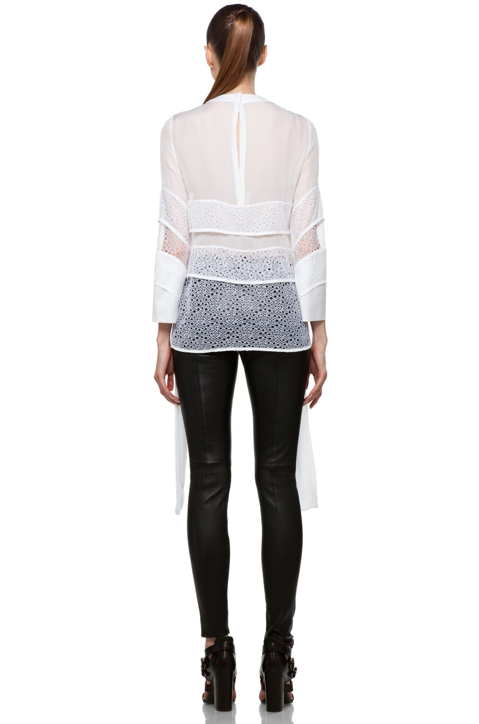 Image 4 of GIVENCHY Tiered Chiffon Lace Top with Tails in White