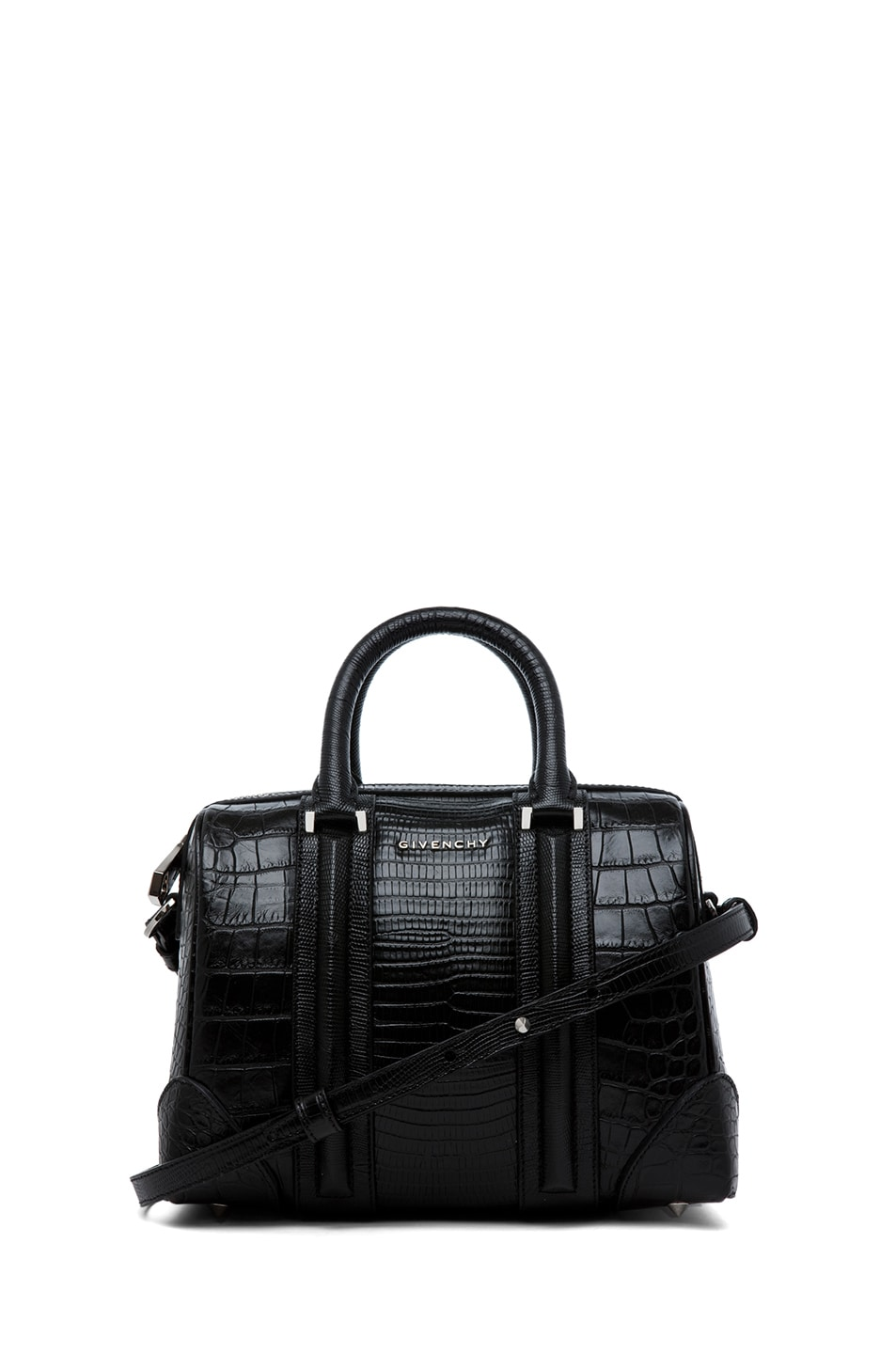 Image 1 of GIVENCHY Lucrezia Mini Stamped Tejus and Crocodile in Black