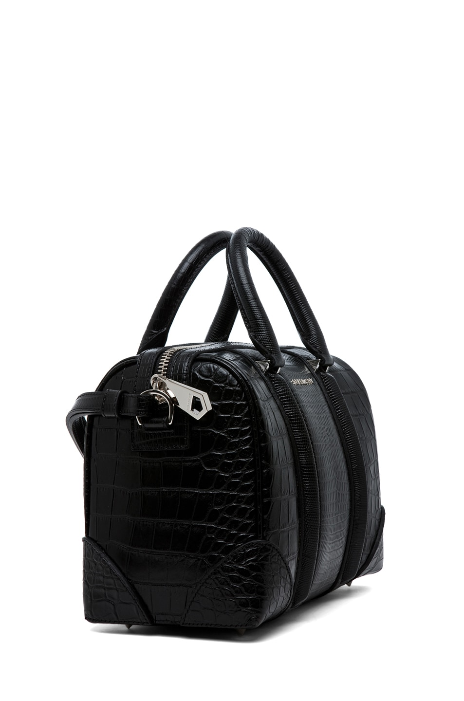 Image 3 of GIVENCHY Lucrezia Mini Stamped Tejus and Crocodile in Black