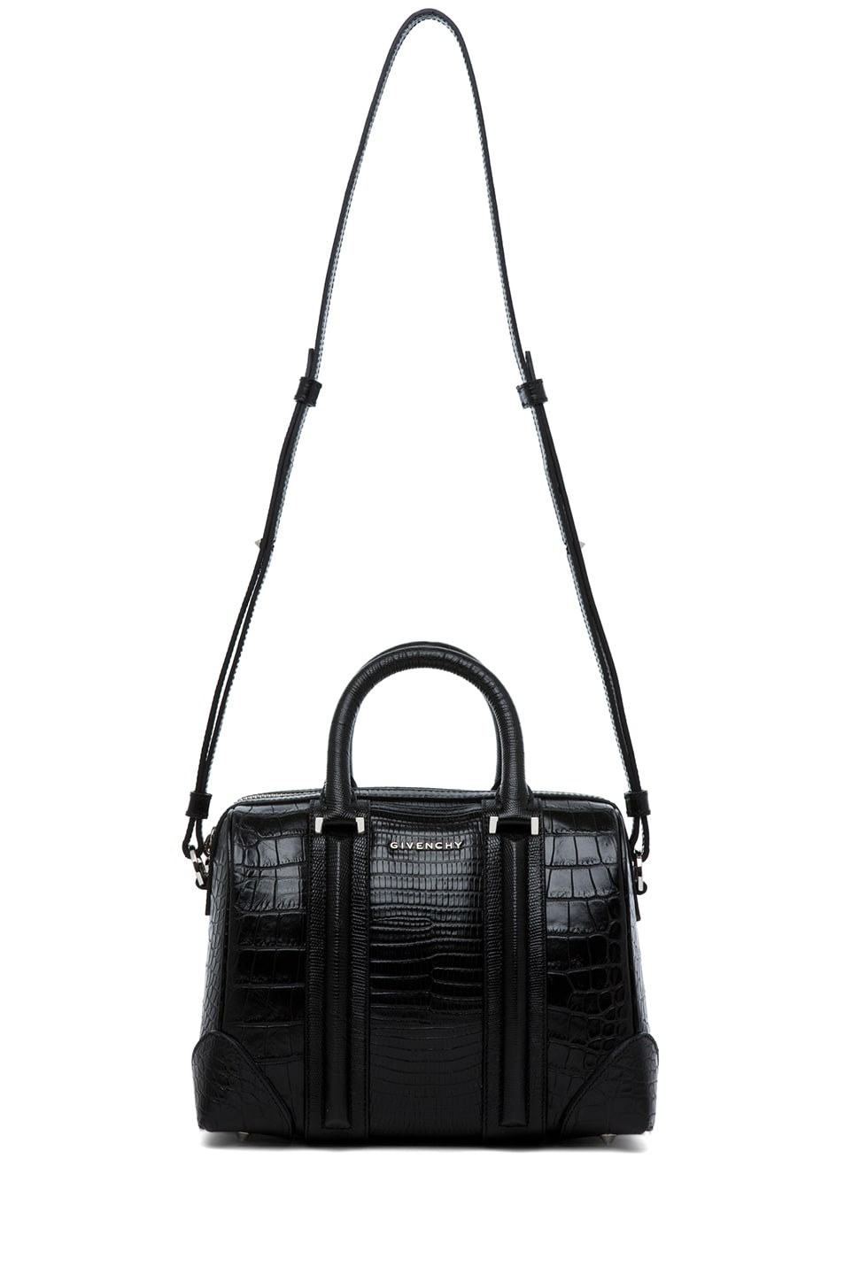 Image 5 of GIVENCHY Lucrezia Mini Stamped Tejus and Crocodile in Black