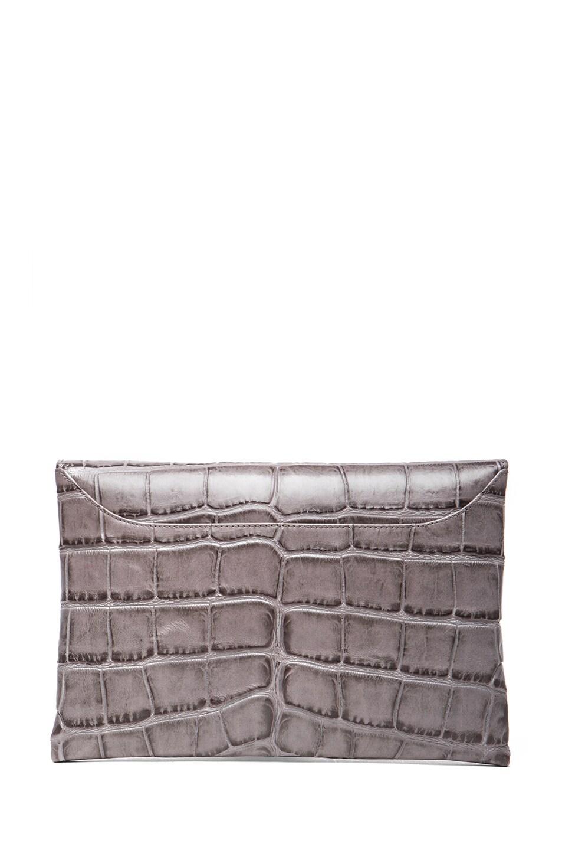 Image 2 of GIVENCHY Medium Stamped Croc Antigona Envelope in Elephant Grey