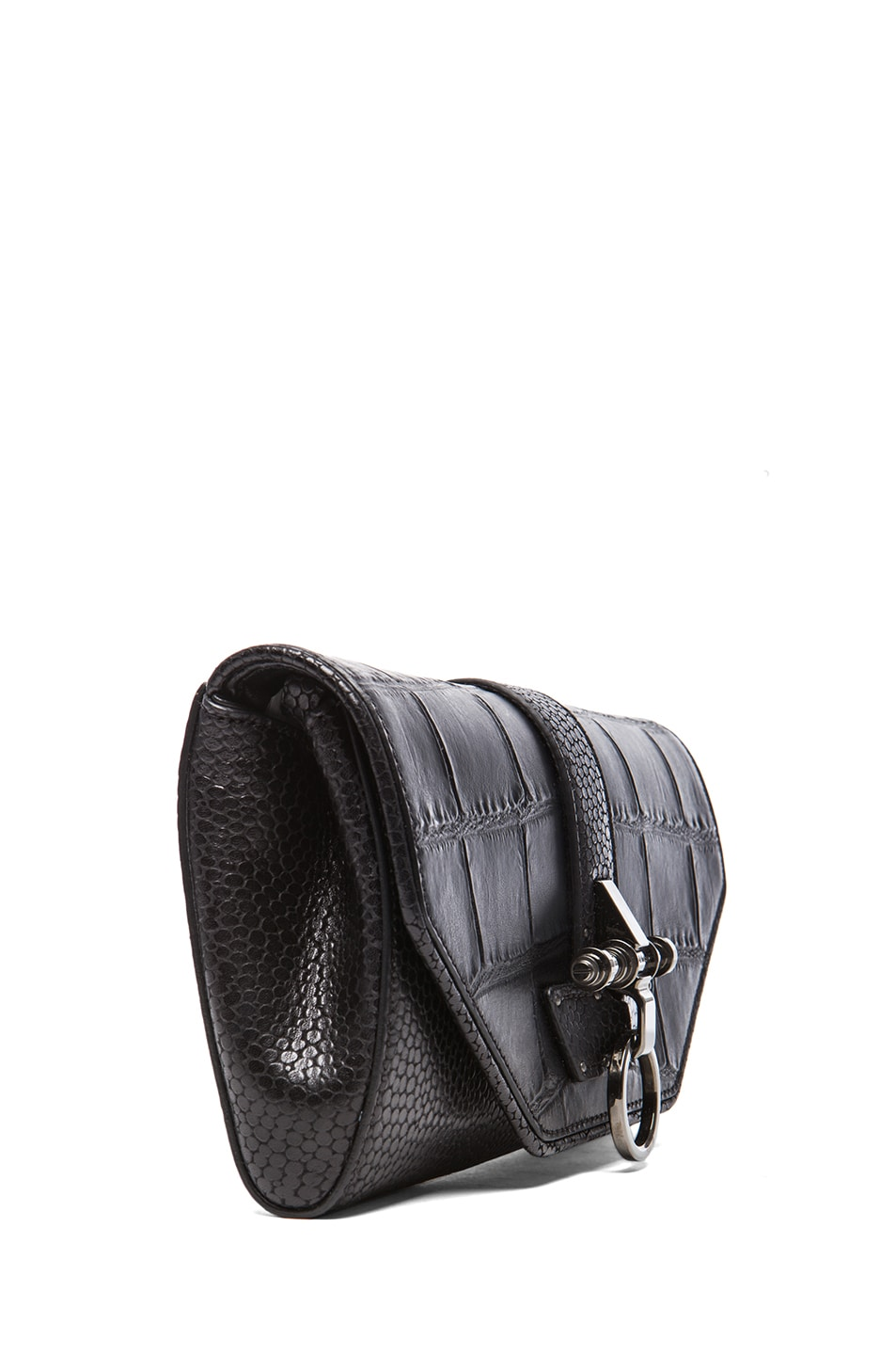 Image 3 of GIVENCHY Evening Obsedia Stamped Croc Clutch with Chain in Black