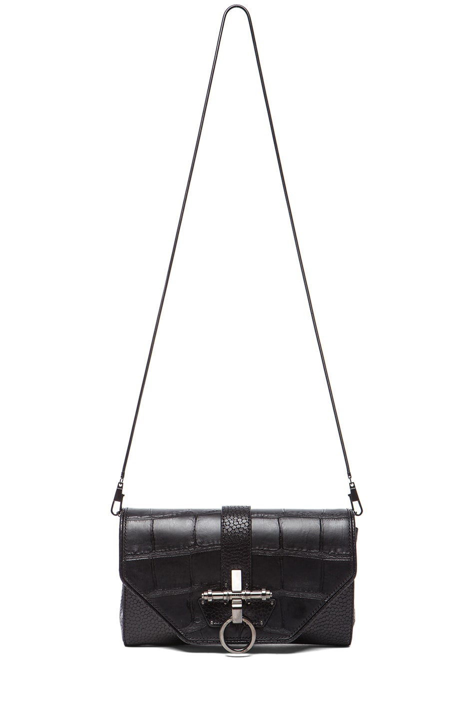 Image 5 of GIVENCHY Evening Obsedia Stamped Croc Clutch with Chain in Black