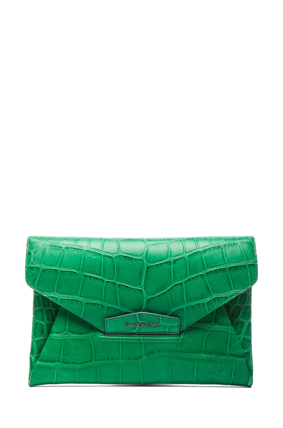 Image 1 of GIVENCHY Medium Antigona Envelope Stamped Croc Clutch in Emerald Green