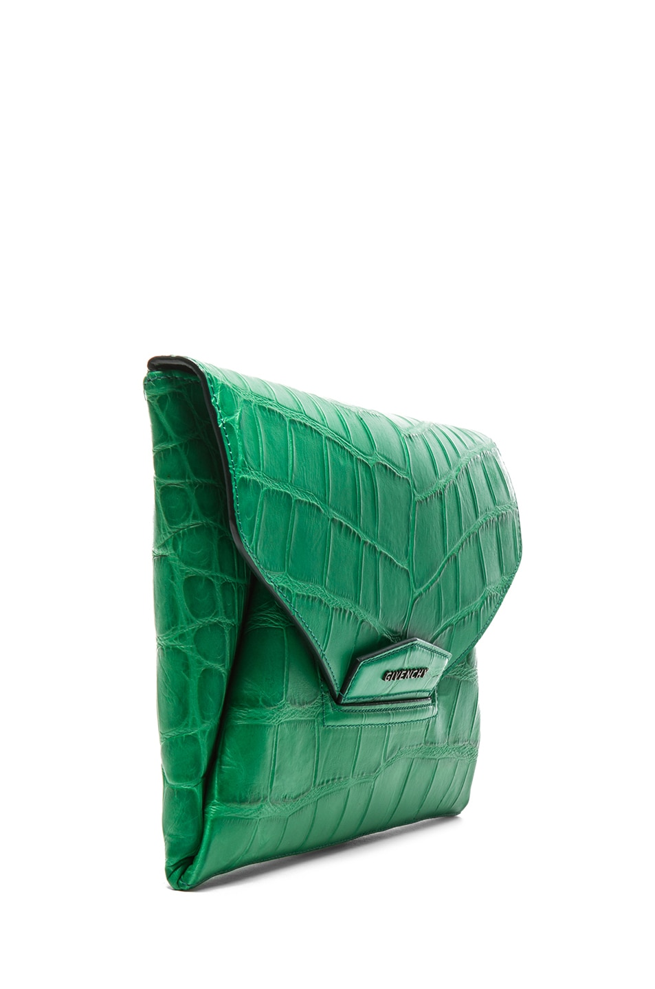Image 3 of GIVENCHY Medium Antigona Envelope Stamped Croc Clutch in Emerald Green