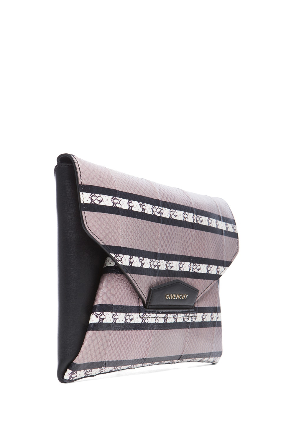 Image 3 of GIVENCHY Medium Ayers Antigona Envelope Clutch in Beige Stripe