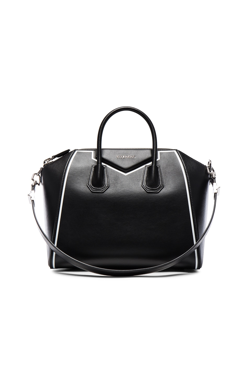 Givenchy Medium Antigona Leather Bag W Stitching Black White