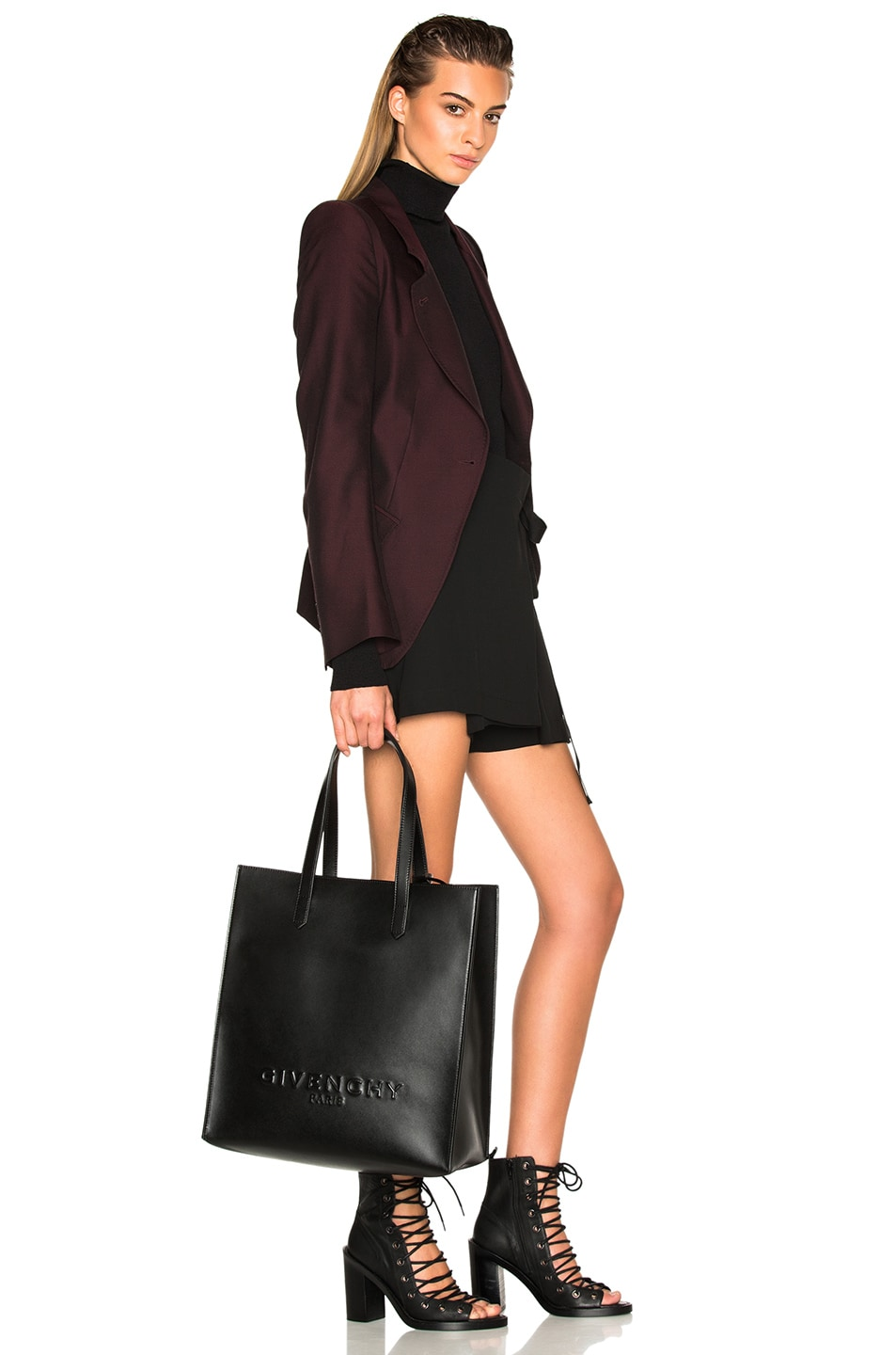 Image 2 of Givenchy Debossed Tote in Black