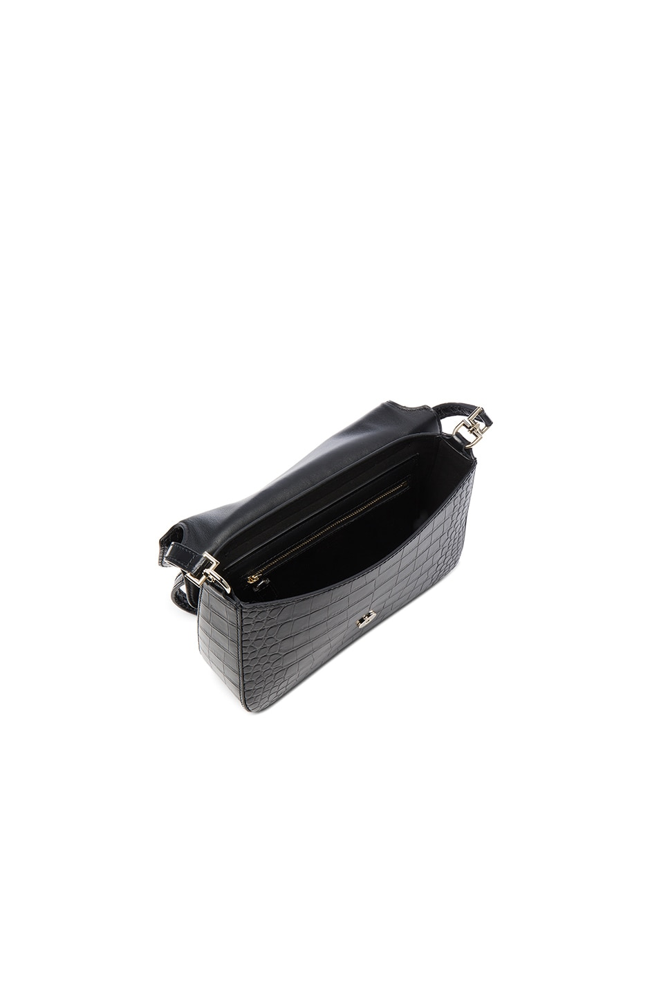 Image 4 of Givenchy Small Crocodile Embossed Leather Nobile in Black