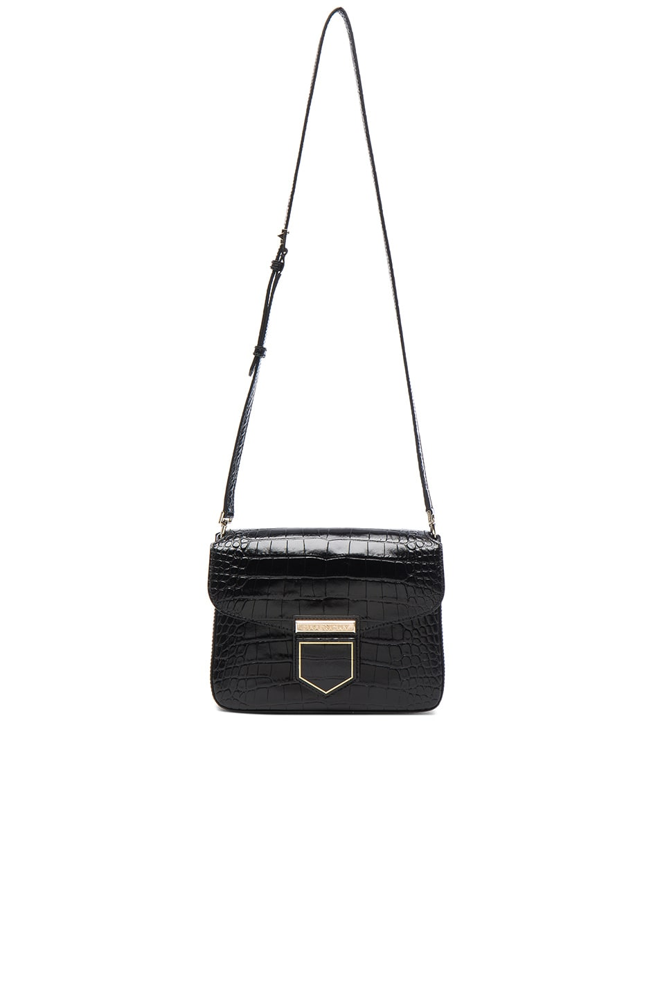 Image 5 of Givenchy Small Crocodile Embossed Leather Nobile in Black