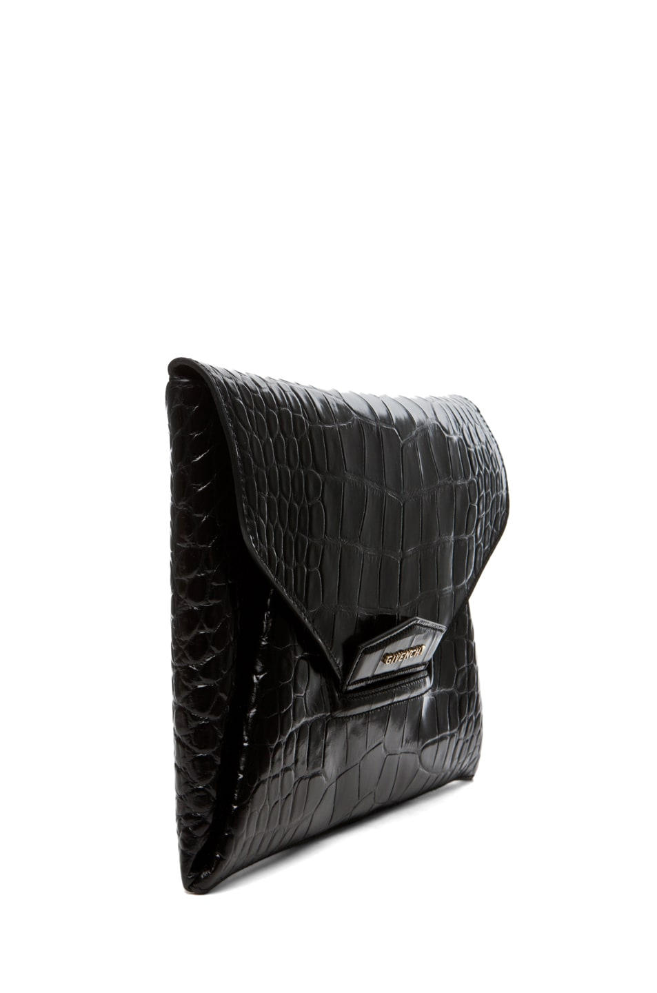 Image 3 of GIVENCHY Antigona Croc Envelope Clutch in Black