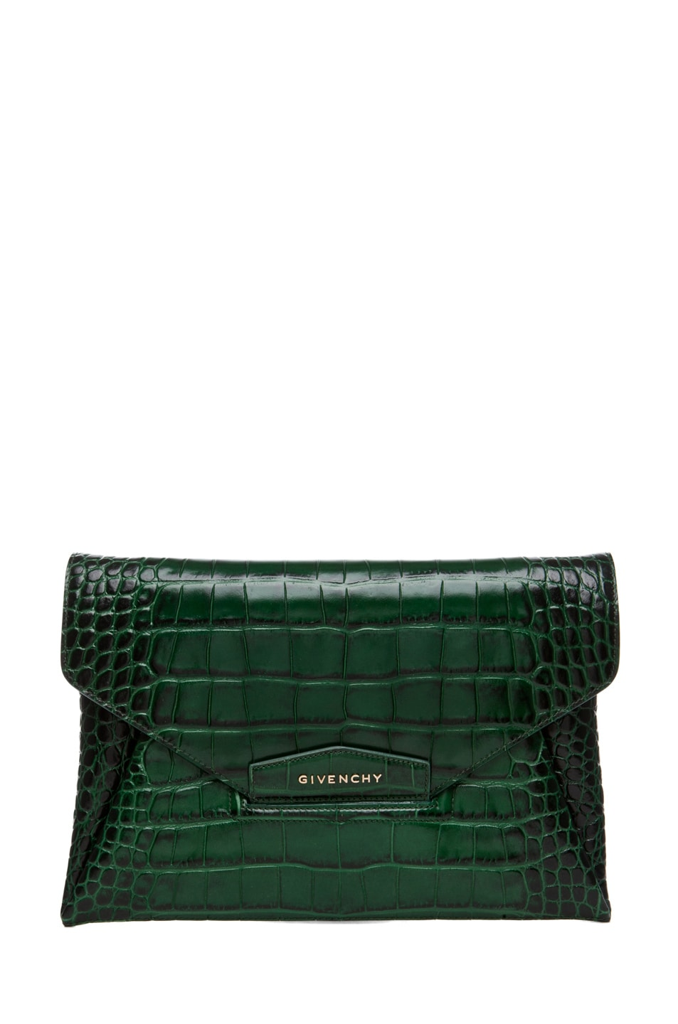 Image 1 of GIVENCHY Anitgona Croc Envelope Clutch in Emerald Green