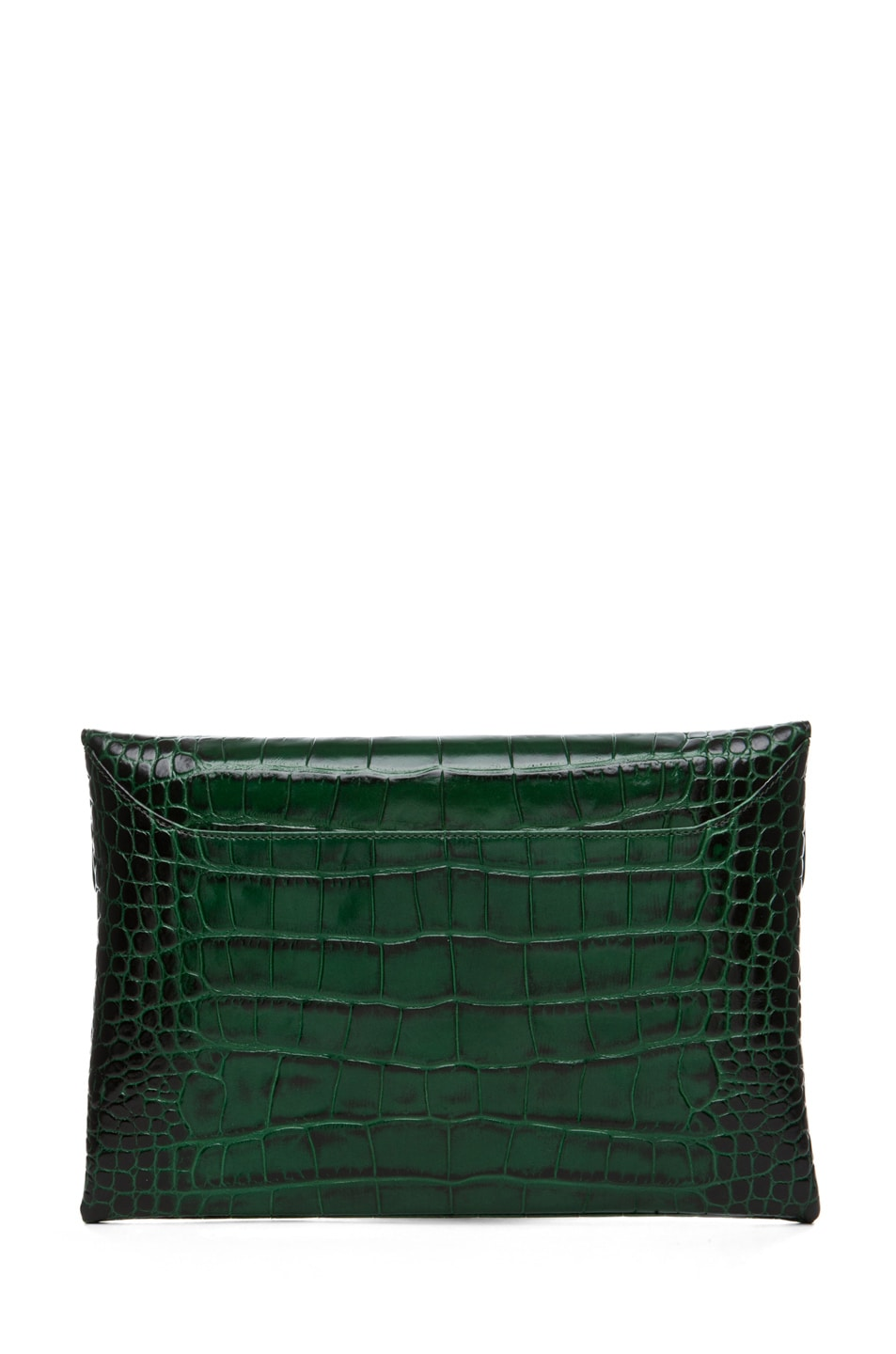 Image 2 of GIVENCHY Anitgona Croc Envelope Clutch in Emerald Green