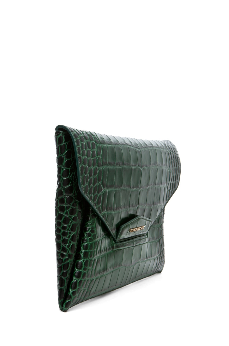 Image 3 of GIVENCHY Anitgona Croc Envelope Clutch in Emerald Green