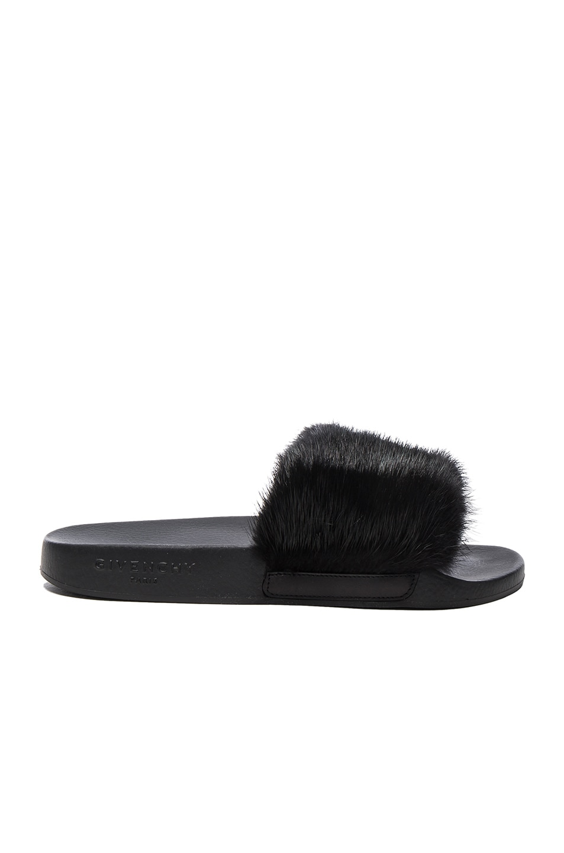 Image 1 of Givenchy Mink Fur Slides in Black