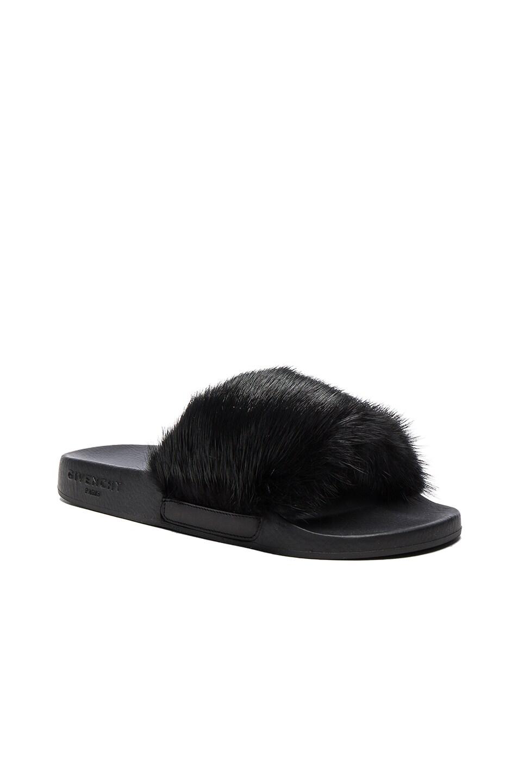 Image 2 of Givenchy Mink Fur Slides in Black