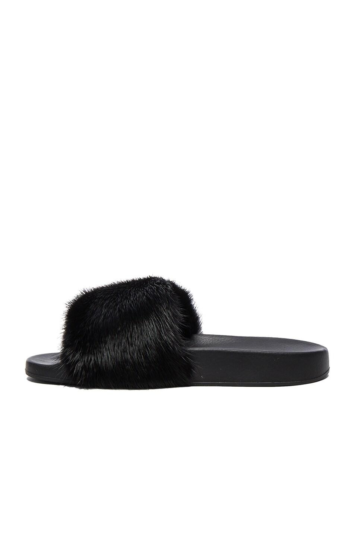 Image 5 of Givenchy Mink Fur Slides in Black