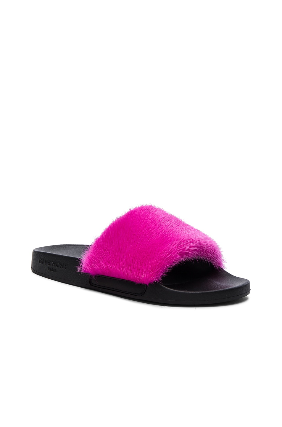 Image 2 of Givenchy Mink Fur Slides in Fuchsia