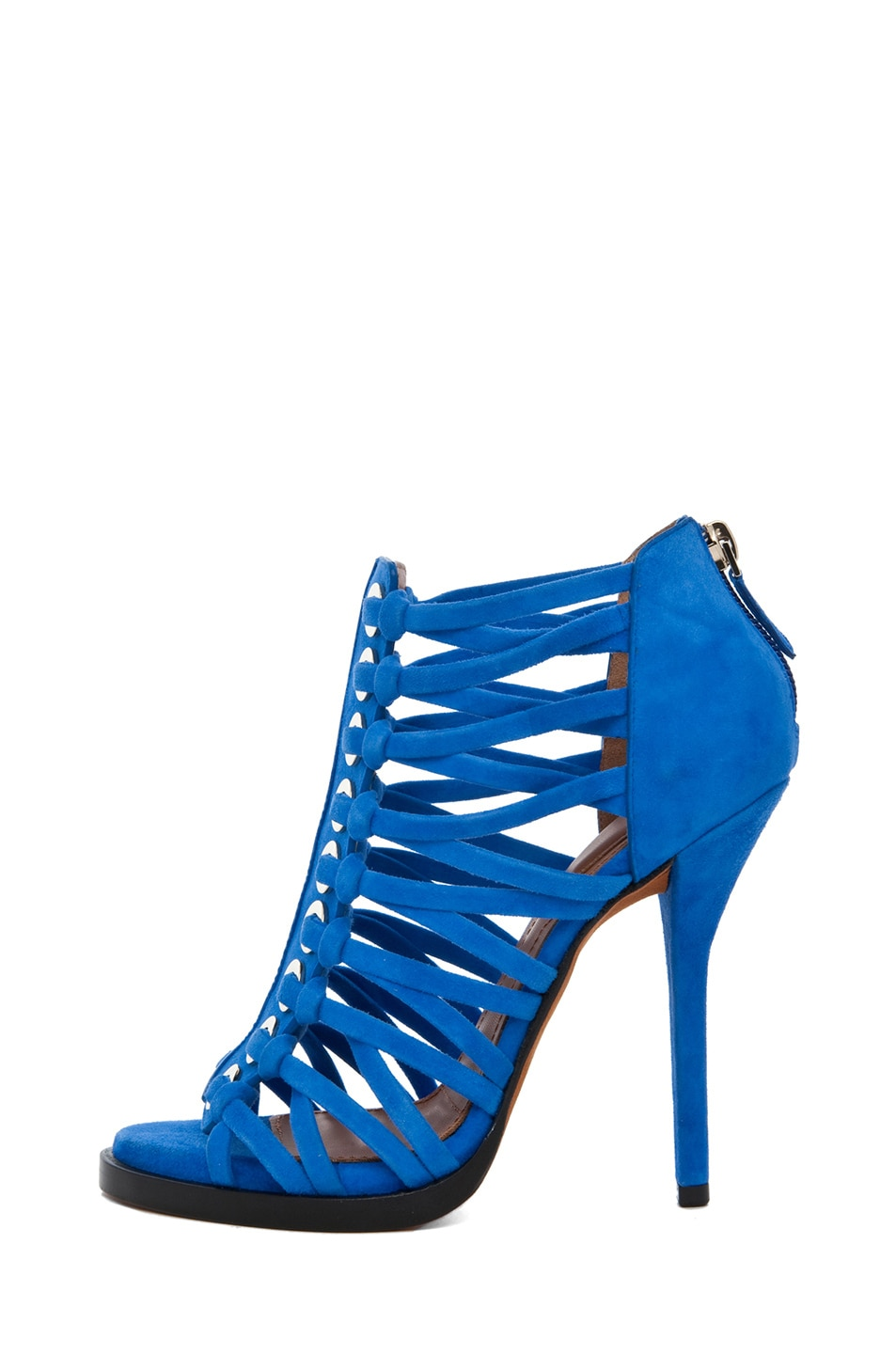 Image 1 of GIVENCHY Zenaide Suede Nautical Eyelet Heel in Blue