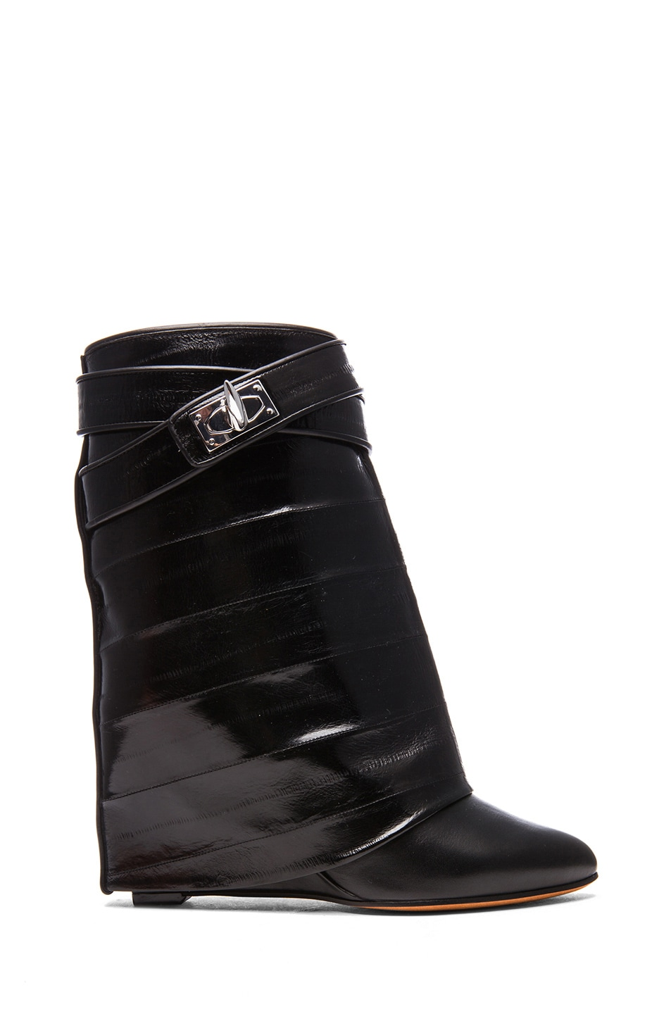Image 1 of GIVENCHY Shark Lock Eelskin & Calfskin Leather Boots in Black