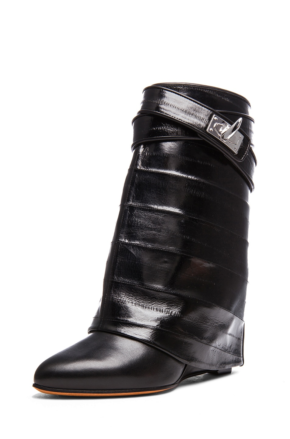 Image 2 of GIVENCHY Shark Lock Eelskin & Calfskin Leather Boots in Black