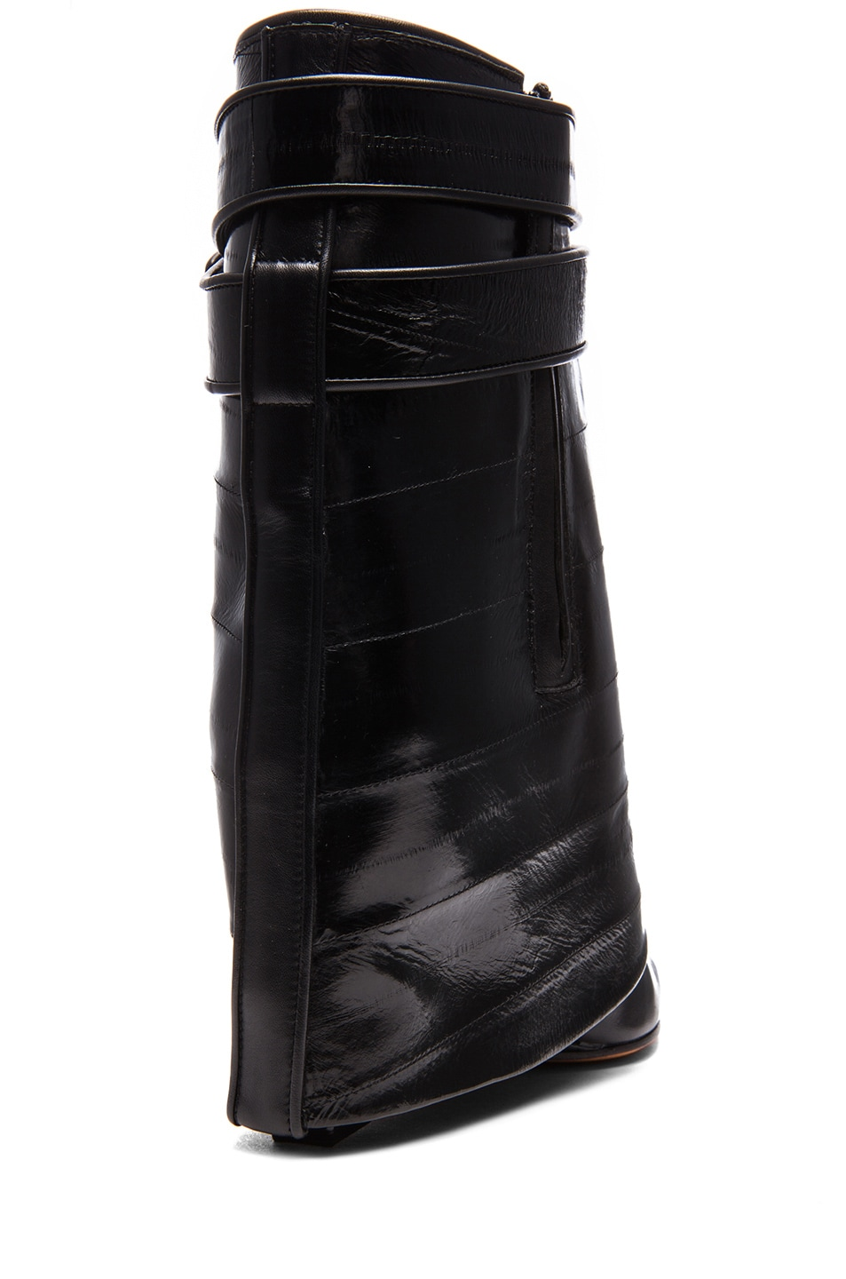Image 3 of GIVENCHY Shark Lock Eelskin & Calfskin Leather Boots in Black