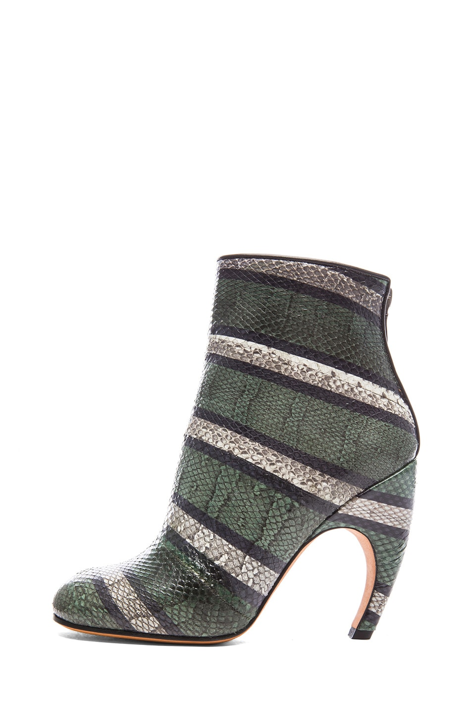 Image 1 of GIVENCHY Ayers Snakeskin Printed Ankle Booties in Green