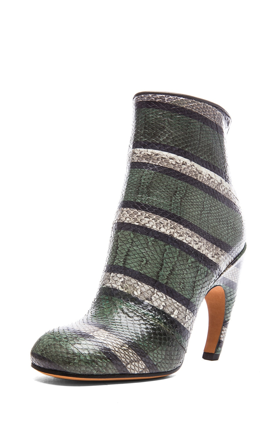 Image 2 of GIVENCHY Ayers Snakeskin Printed Ankle Booties in Green