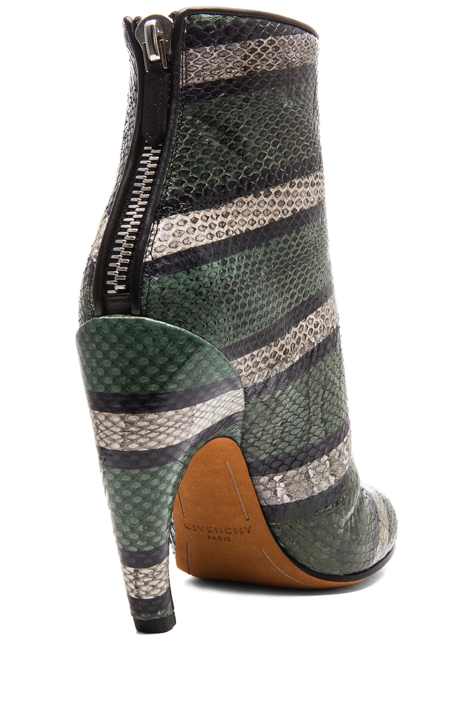 Image 3 of GIVENCHY Ayers Snakeskin Printed Ankle Booties in Green