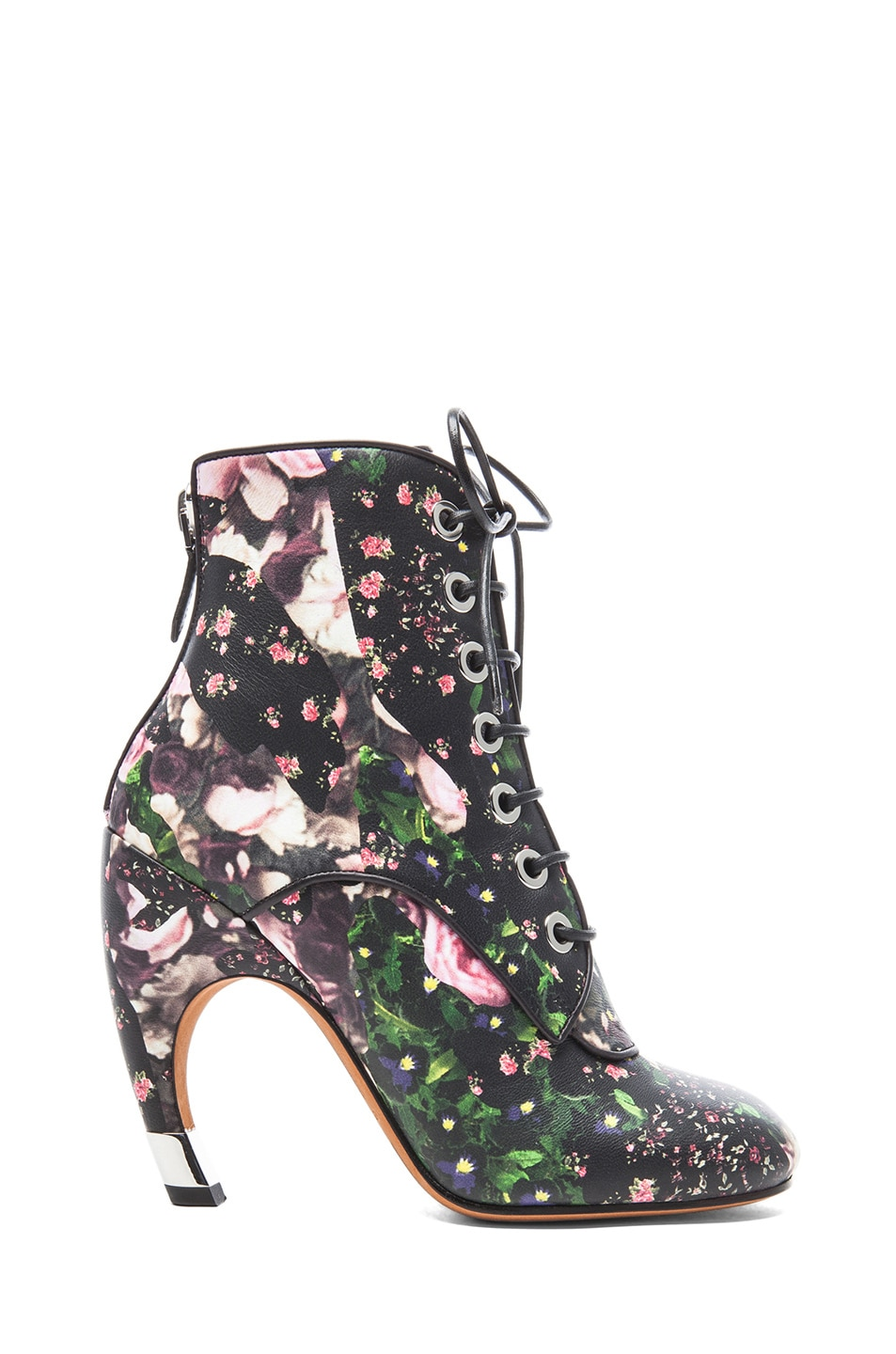 Image 1 of GIVENCHY Nappa Leather Curved Heel Booties in Floral Multi