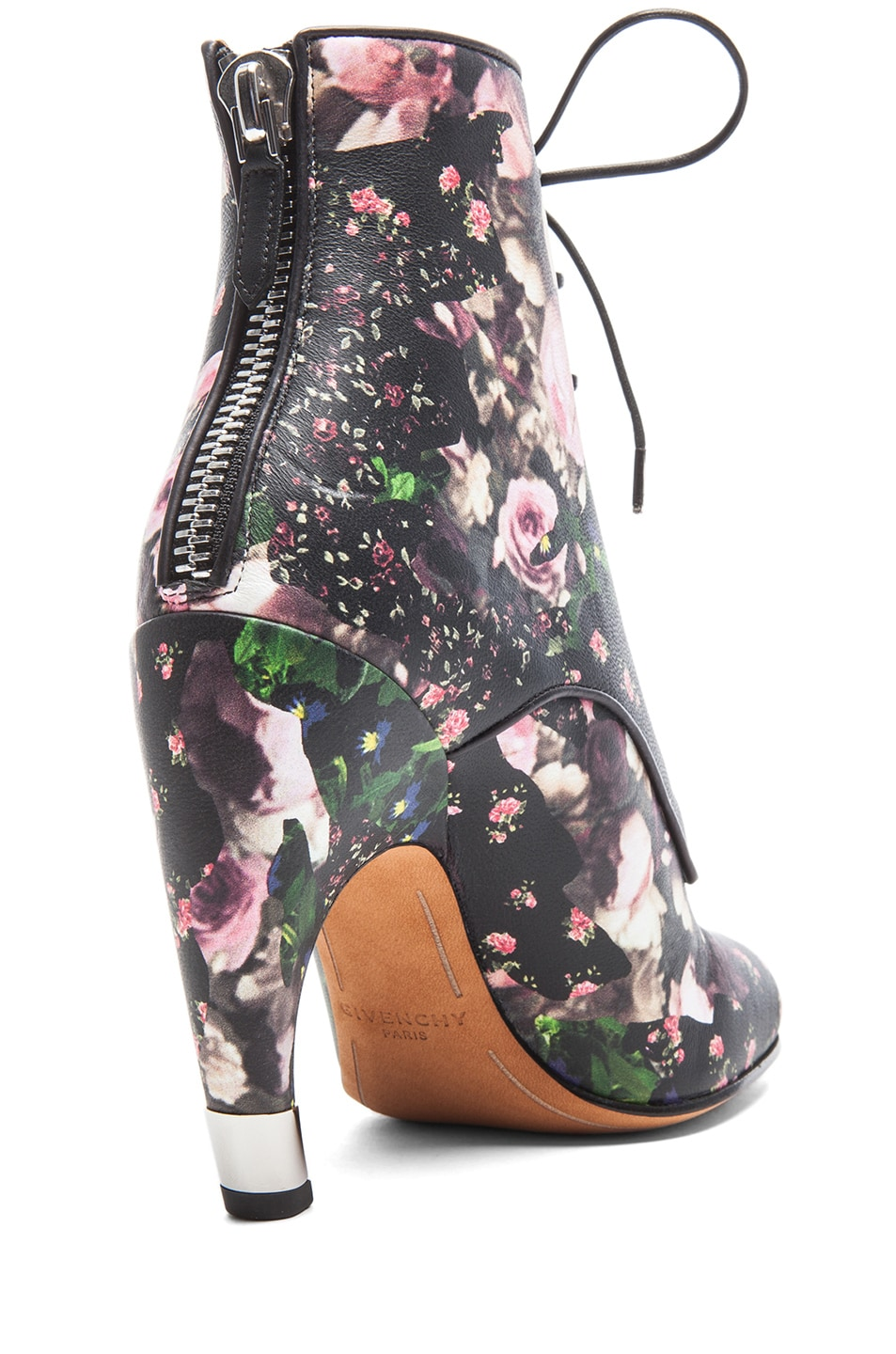 Image 3 of GIVENCHY Nappa Leather Curved Heel Booties in Floral Multi