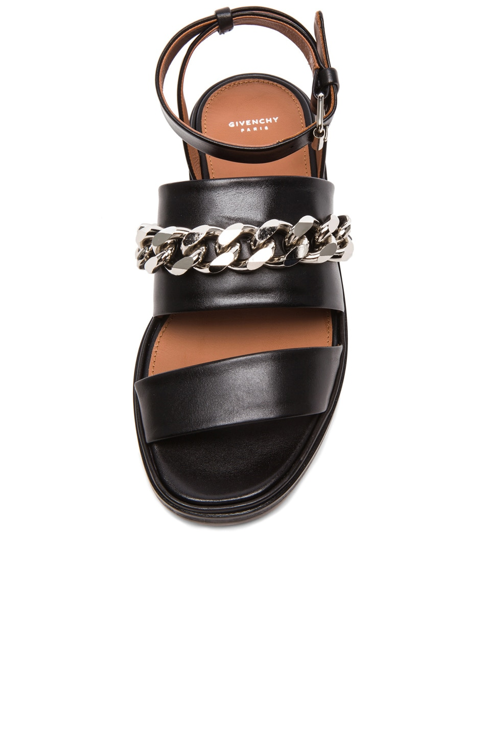 Image 4 of GIVENCHY Chain Leather Flat Sandals in Black