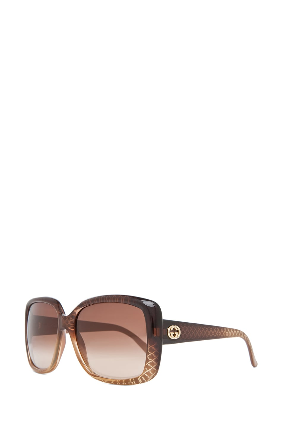 Image 2 of Gucci 3574 Sunglasses in Cuir Gold Diamond & Brown Gradient
