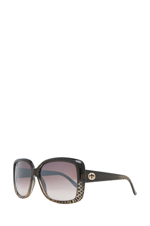 Image 2 of Gucci 3574 Sunglasses in Black Gold Diamond & Brown Mirror Gradient