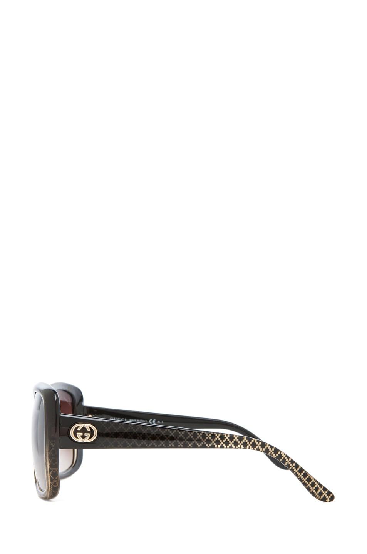 Image 3 of Gucci 3574 Sunglasses in Black Gold Diamond & Brown Mirror Gradient
