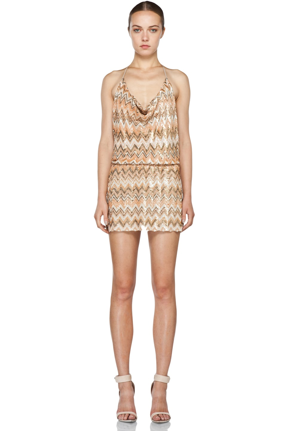 Image 1 of Haute Hippie Chevron Sequin Dress in Buff Multi