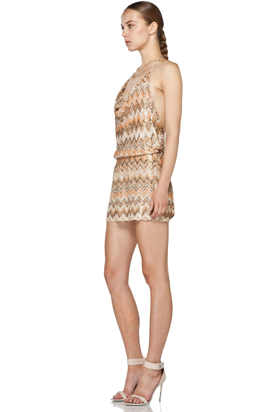 Image 2 of Haute Hippie Chevron Sequin Dress in Buff Multi
