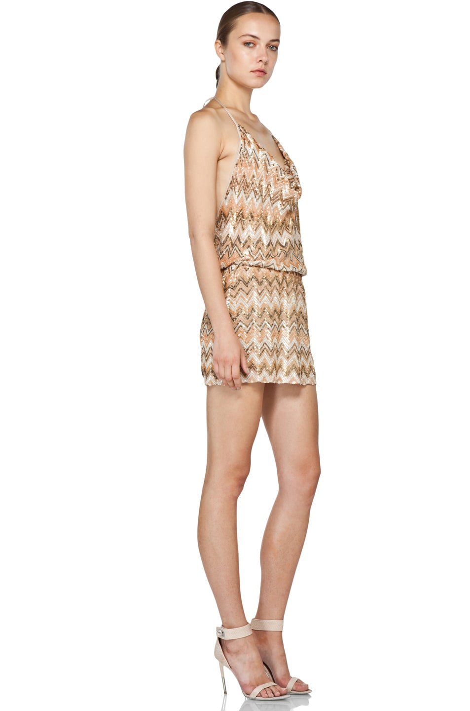 Image 3 of Haute Hippie Chevron Sequin Dress in Buff Multi