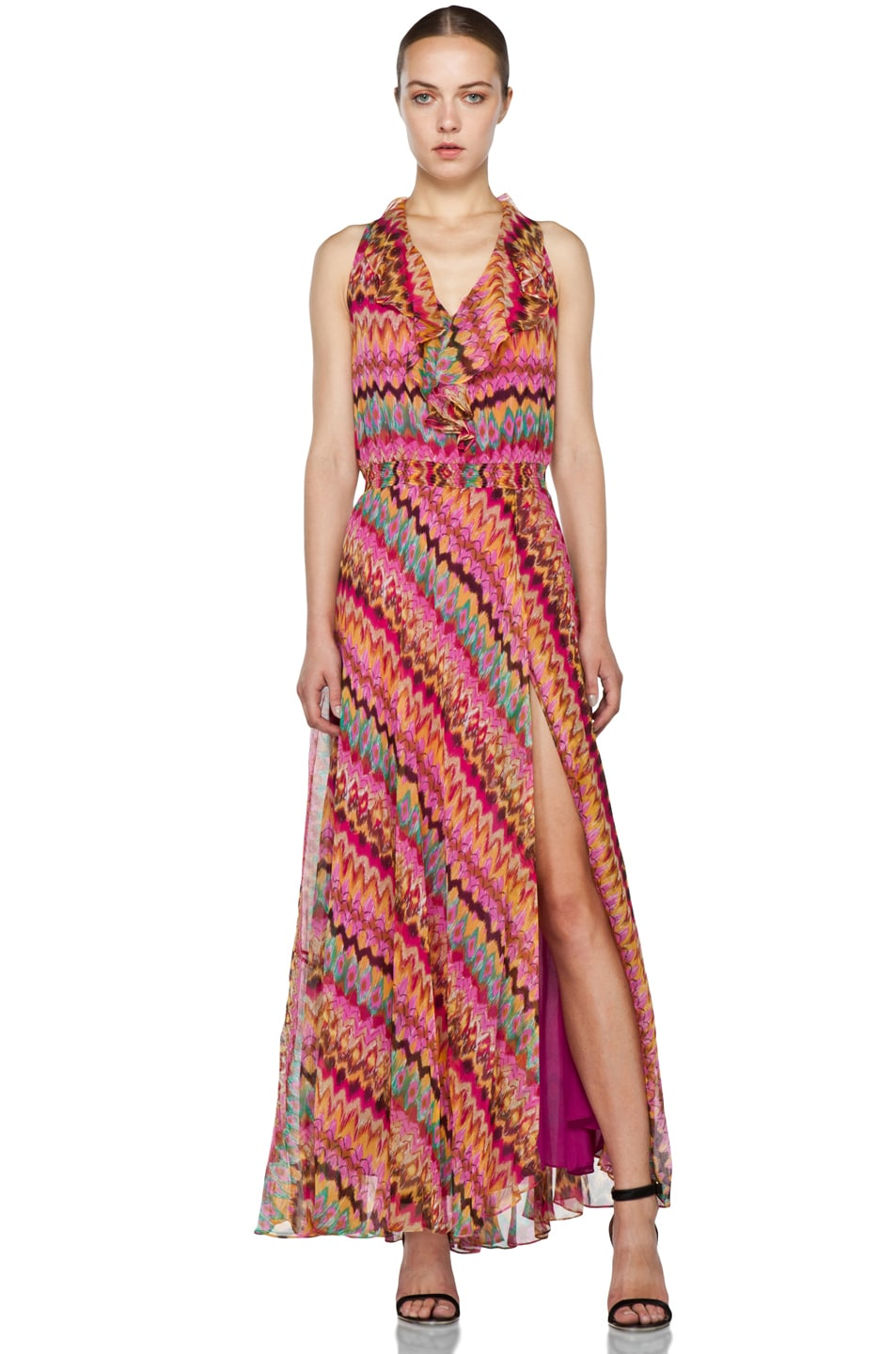 Image 1 of Haute Hippie Printed Ruffle Maxi Dress in Lilac Multi
