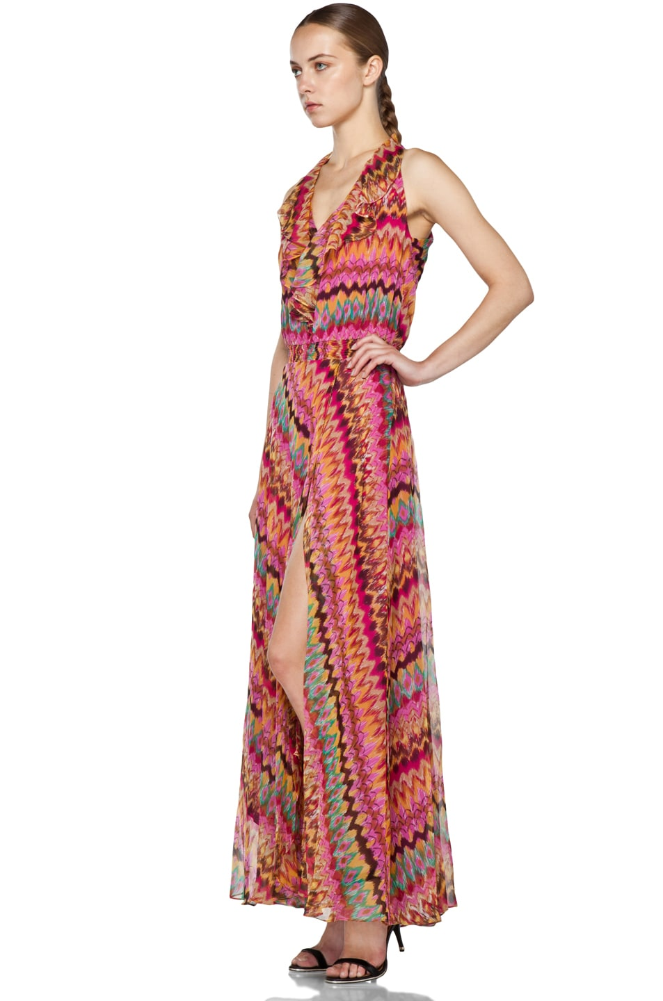 Image 2 of Haute Hippie Printed Ruffle Maxi Dress in Lilac Multi